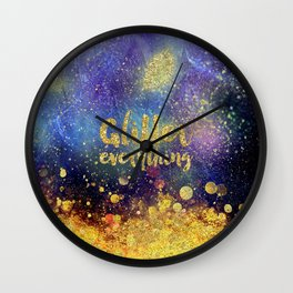 Glitter everything- Girly Gold Glitter effect Space Typography Wall Clock
