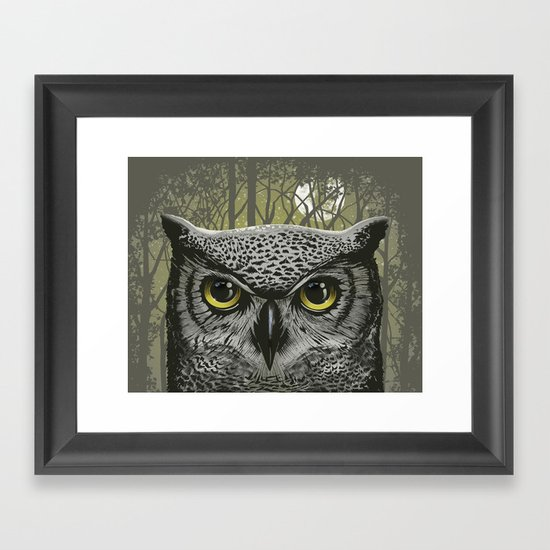Moon Owl Framed Art Print