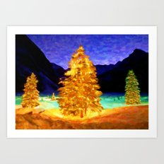 Christmas Trees - Painting Style Art Print