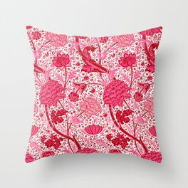 William Morris Jacobean Floral, Coral Pink and Fuchsia Throw Pillow