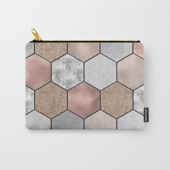 Marble hexagons and rose gold on black Carry-All Pouch