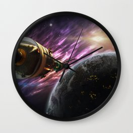Space travel around planet Wall Clock