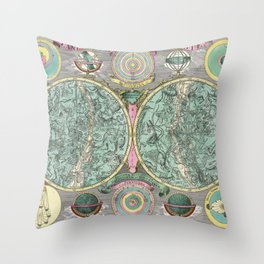 Vintage Astronomy Chart - Star Chart - Circa 1772 Throw Pillow