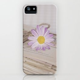 Shabby Chic Old Letters And Daisy iPhone Case