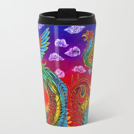 Colorful Fenghuang Chinese Phoenix Rainbow Bird Travel Mug