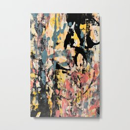 001.3: a vibrant abstract design in black yellow and pink by Alyssa Hamilton Art  Metal Print