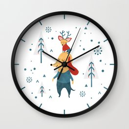 Merry Christmas card Wall Clock