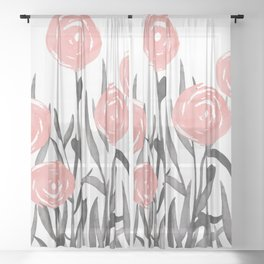 Abstract, Flower Garden, Watercolor, Floral Prints Sheer Curtain