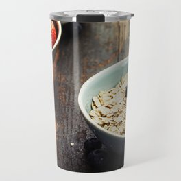 Bowls with cereals and fresh berries on wooden table Travel Mug