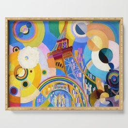 Air, Iron, and Water (Eiffel Tower) by Robert Delaunay Serving Tray