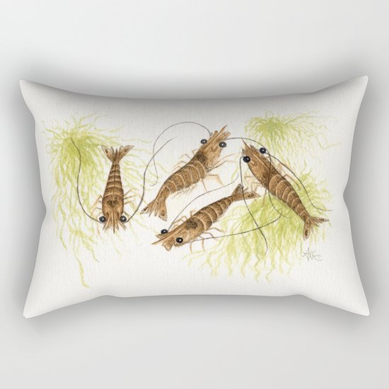 """Shrimp"" by Amber Marine ~ Watercolor Painting, (c) 2013 Rectangular Pillow"