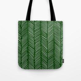 Forest Green Herringbone Tote Bag
