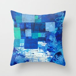 Blue puddle square peg Throw Pillow