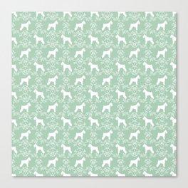 Schnauzer floral silhouette pattern schnauzers minimal mint dog art Canvas Print
