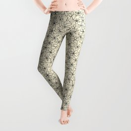 garland flowers ivory Leggings