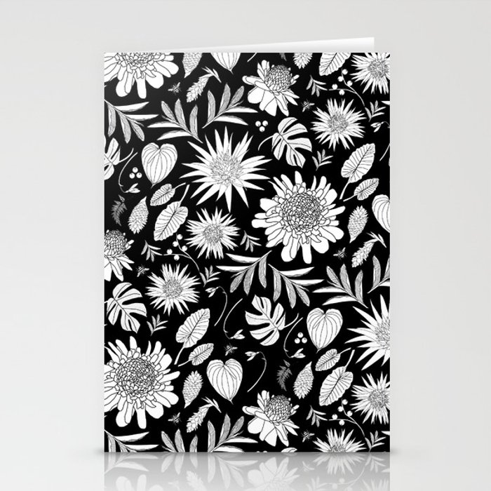 TROPICAL FLORAL BLACK & WHITE Stationery Cards