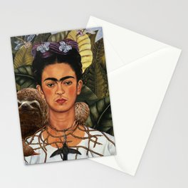 Frida Kahlo's Self Portrait with Sloth Stationery Cards