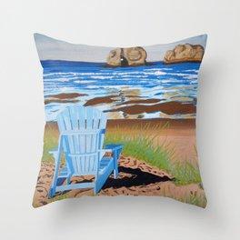 Chair at beach Throw Pillow