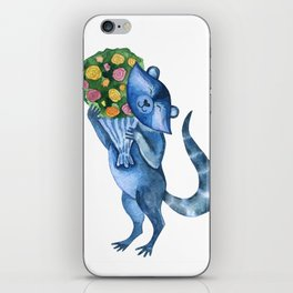 Cute funny raccoon with bouquet of flowers. Animal character. St. Valentine illustration. iPhone Skin