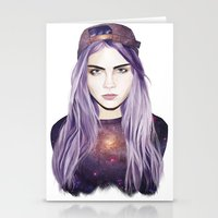 cara delevingne Stationery Cards featuring Cara Delevingne by Alana Mays Creative
