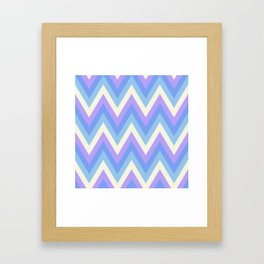 Pastel Purple Yellow and Blue Chevron Pattern Framed Art Print