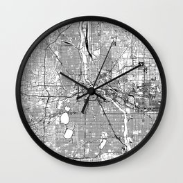 Minneapolis White Map Wall Clock