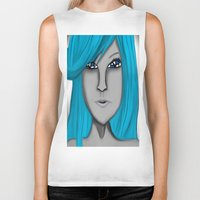 no face Biker Tanks featuring Face by LCMedia
