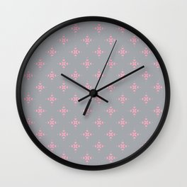 Ornamental Pattern with Grey and Pink Colourway Wall Clock