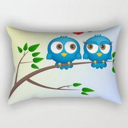 Cute blue birds in love cartoon Rectangular Pillow
