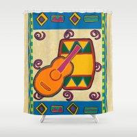 drum Shower Curtains featuring Drum by Karen Cabral Sullivan Illustration & Des