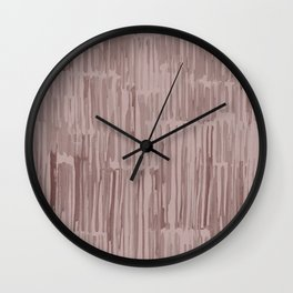 Simply Bamboo Brushstroke Red Earth on Clay Pink Wall Clock
