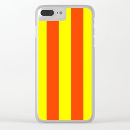 Bright Neon Orange and Yellow Vertical Cabana Tent Stripes Clear iPhone Case
