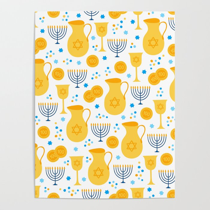 Hanukkah Traditions Pattern Poster