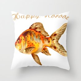 Elegant Happy Norooz Goldfish Persian New Year Throw Pillow