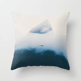 Misty Mountain Peak Blue Hues Minimalist Modern Photo Single Bird Throw Pillow