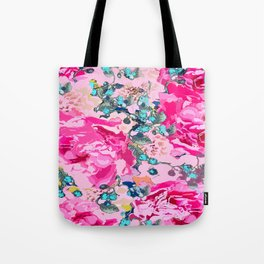 Pink floral work with some turquoise and yellow details Tote Bag