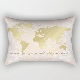 Map of the World, Go with all your Heart Rectangular Pillow