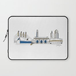 Kansas City Skyline Illustration in KC Royals Colors Laptop Sleeve