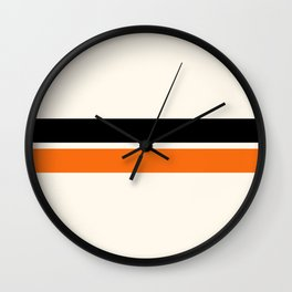 2 Stripes Black Orange Wall Clock