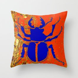 Blue Staghorn Beetle Throw Pillow