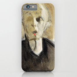 Red spotted self-portrait - Helene Sofia Schjerfbeck iPhone Case