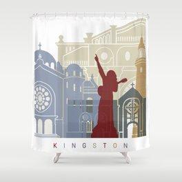 Kingston skyline poster Shower Curtain