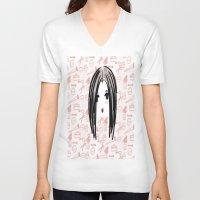 makeup V-neck T-shirts featuring makeup girl ^-^ by naufba