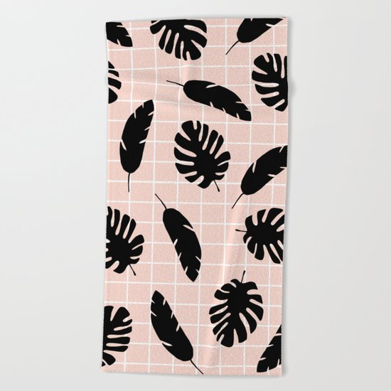 Graphic Tropical Leaves on Grid Black and Pink Beach Towel