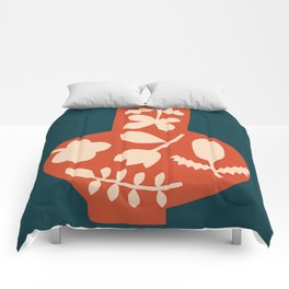 Floral Vase | Blue, Red, + Peach Comforters