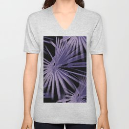 Violet On Black Tropical Vibes Beach Palmtree Vector Unisex V-Neck