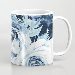 Blue White Winter Roses Coffee Mug