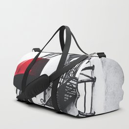 building with porch and red awning in the city Duffle Bag