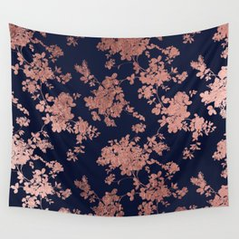 Modern elegant navy blue faux rose gold floral Wall Tapestry
