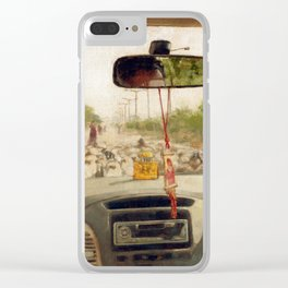 Driving in Car on Road Blocked by Flock of Sheep Urban Cityscape in India Travel Clear iPhone Case